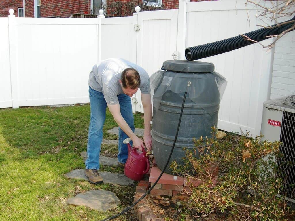 Watering with a rain barrel