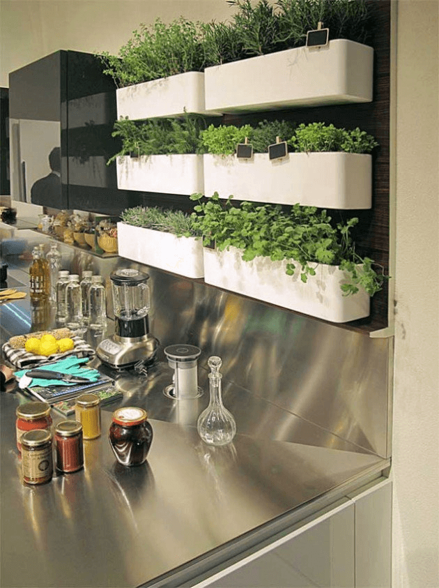 Slat Wall Hanging Herb Garden