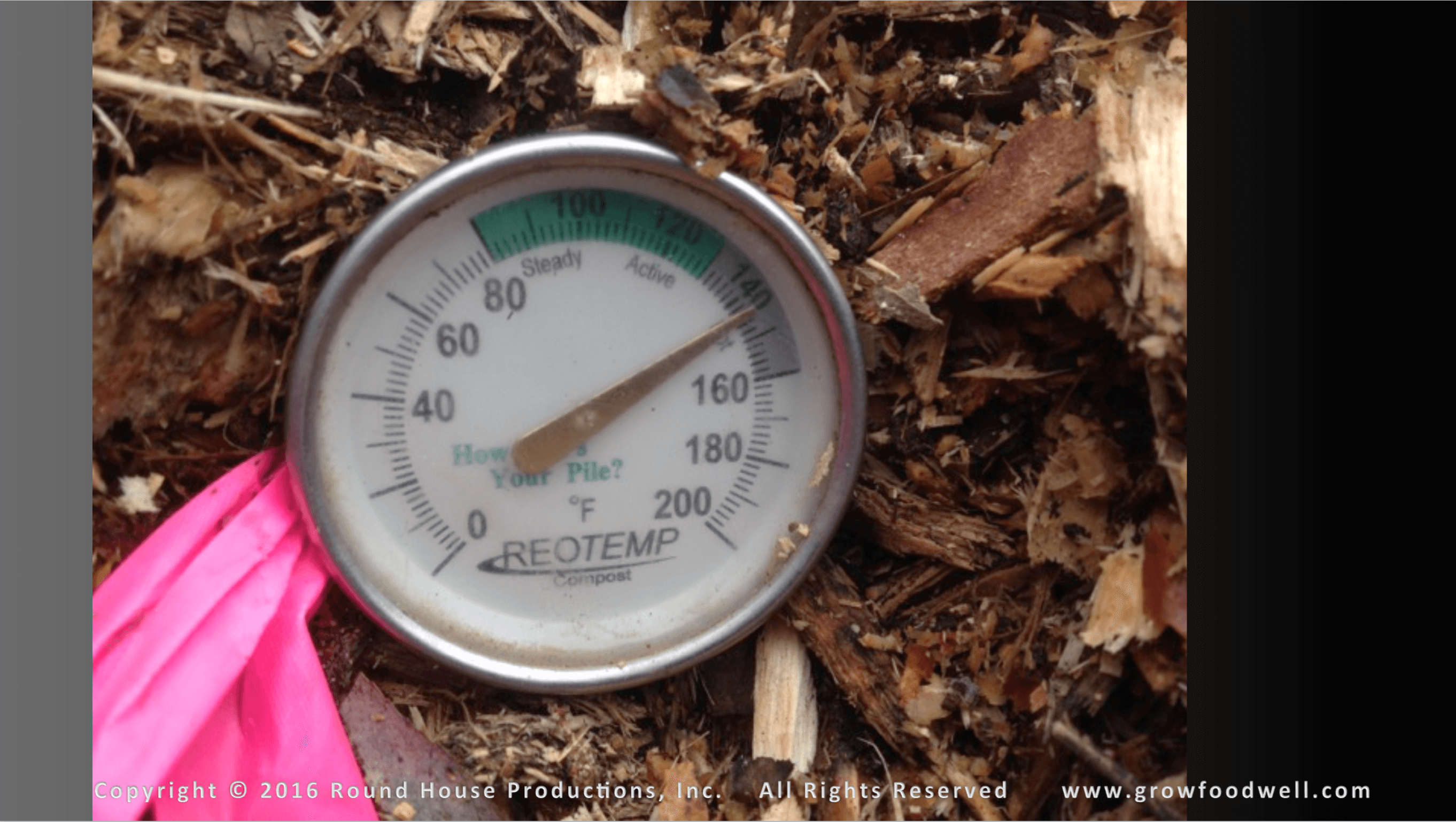Temperature dial in compost