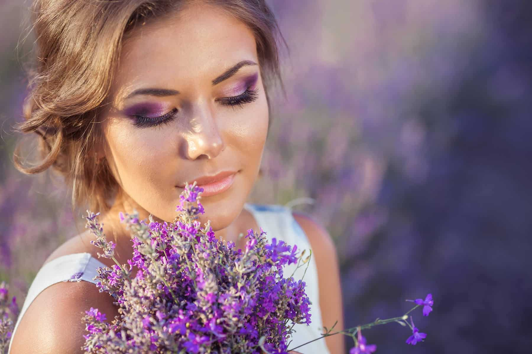 Woman relaxing with lavender