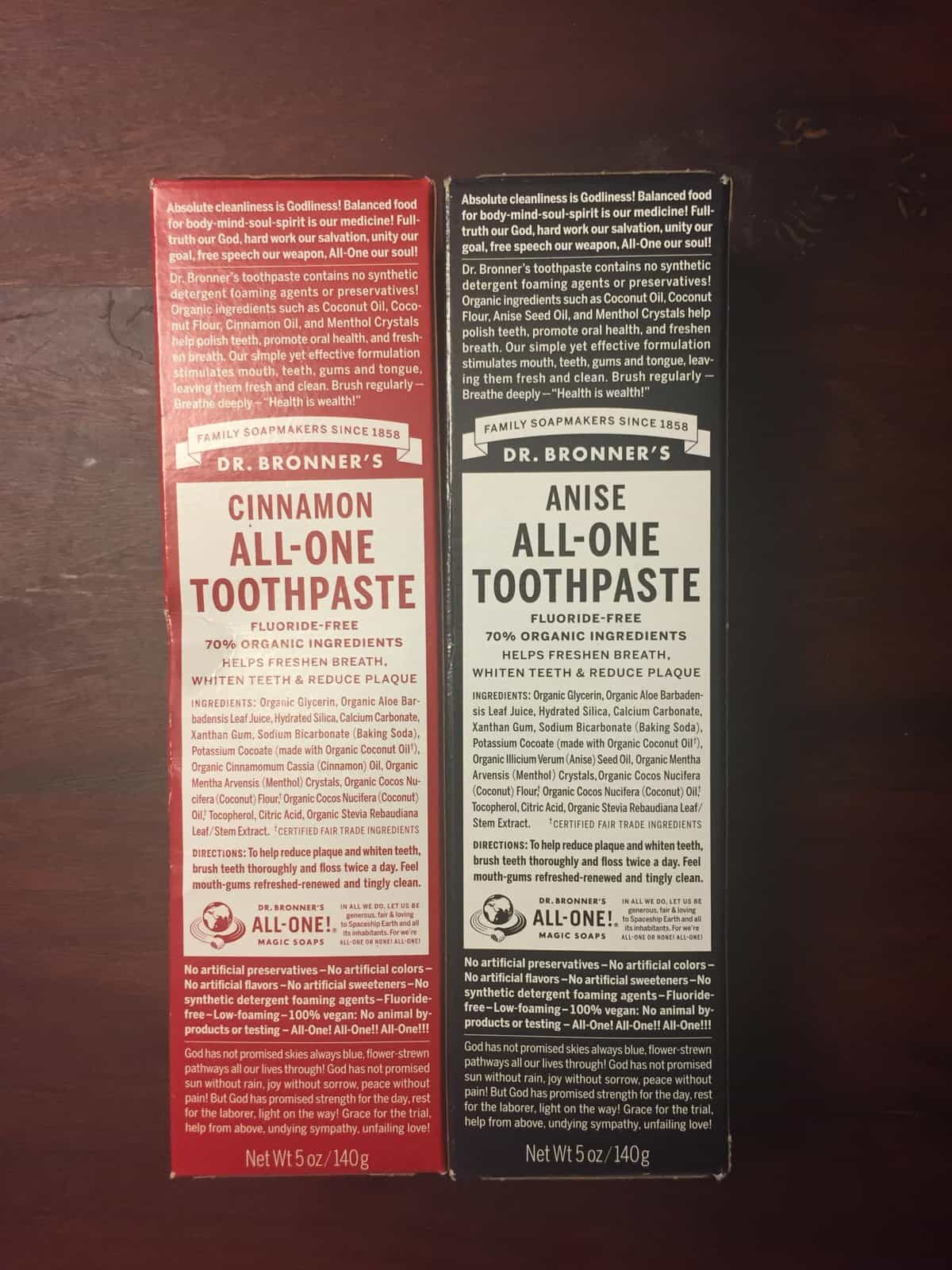 Dr. Bronner's All-One Toothpaste - Cinnamon and Anise flavors