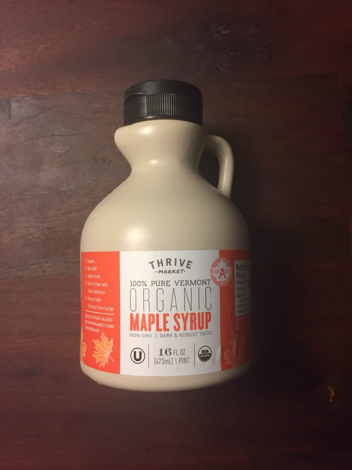 Thrive Market brand organic maple syrup