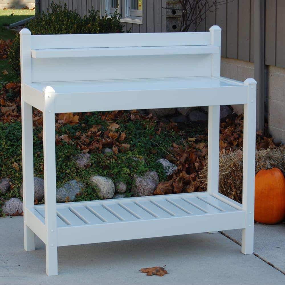2. White Vinyl Potting Bench